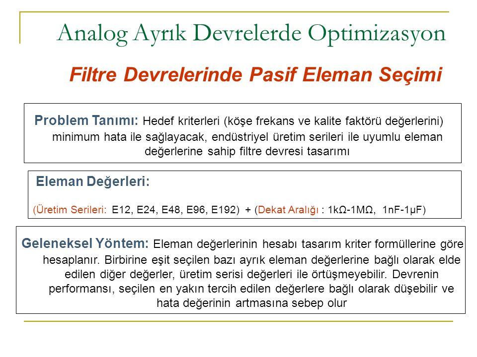 Analog Ayrık Devrelerde Optimizasyon Filtre Devrelerinde Pasif Eleman Seçimi Problem Tanımı: Hedef kriterleri (köşe frekans ve kalite faktörü değerler