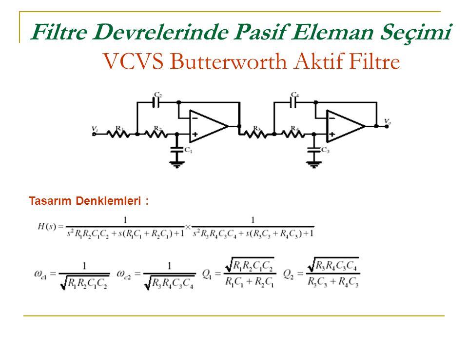 Filtre Devrelerinde Pasif Eleman Seçimi VCVS Butterworth Aktif Filtre Tasarım Denklemleri :