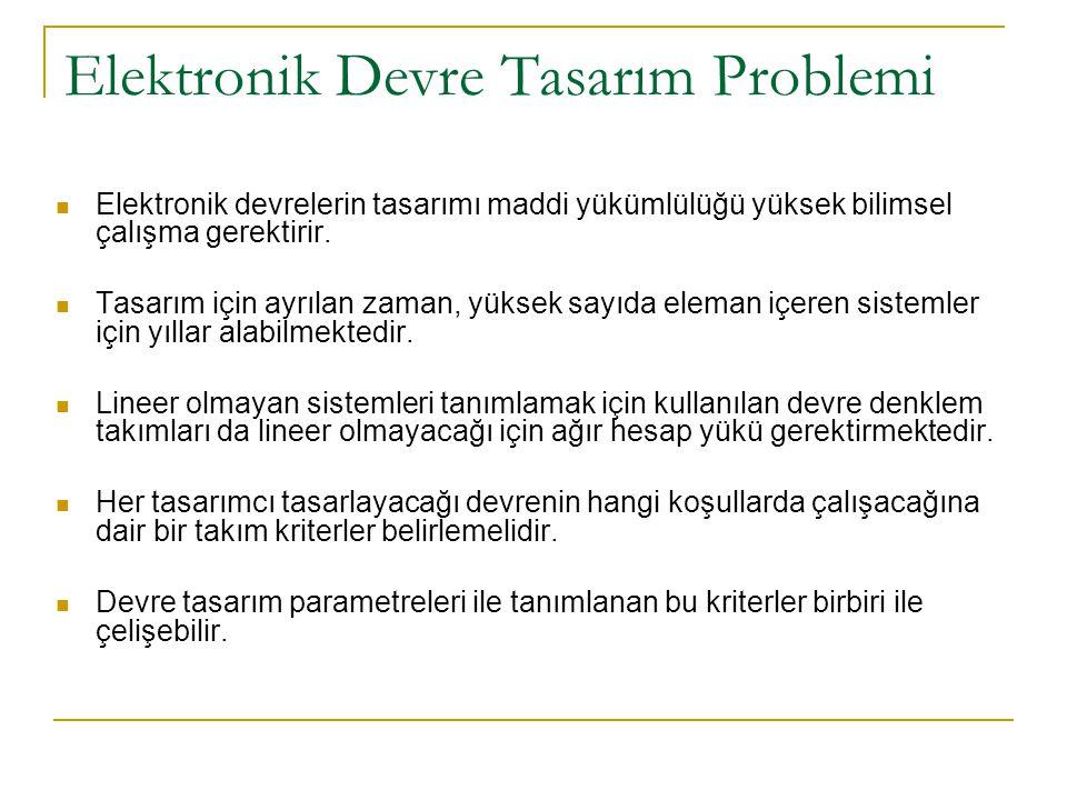 Elektronik Devre Tasarım Problemi Elektronik devrelerin tasarımı maddi yükümlülüğü yüksek bilimsel çalışma gerektirir. Tasarım için ayrılan zaman, yük