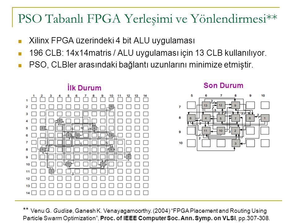 PSO Tabanlı FPGA Yerleşimi ve Yönlendirmesi** Xilinx FPGA üzerindeki 4 bit ALU uygulaması 196 CLB: 14x14matris / ALU uygulaması için 13 CLB kullanılıy