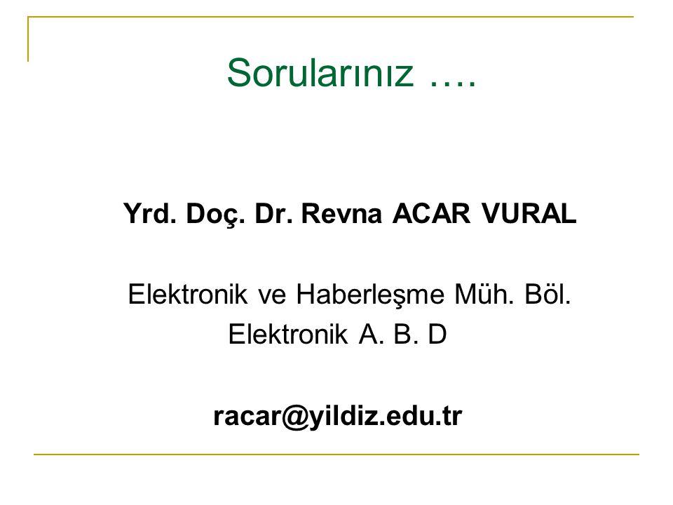 Sorularınız …. Yrd. Doç. Dr. Revna ACAR VURAL Elektronik ve Haberleşme Müh. Böl. Elektronik A. B. D racar@yildiz.edu.tr