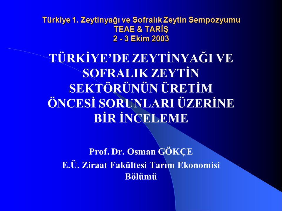 Türkiye 1. Zeytinyağı ve Sofralık Zeytin Sempozyumu TEAE & TARİŞ 2 - 3 Ekim 2003 TÜRKİYE'DE ZEYTİNYAĞI VE SOFRALIK ZEYTİN SEKTÖRÜNÜN ÜRETİM ÖNCESİ SOR