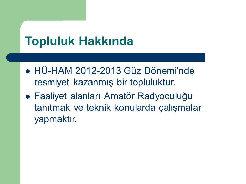 Topluluk Hakkında HÜ-HAM 2012-2013 Güz Dönemi'nde resmiyet kazanmış bir topluluktur. Faaliyet alanları Amatör Radyoculuğu tanıtmak ve teknik konularda
