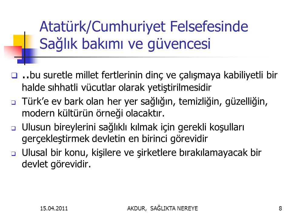 Atatürk/Cumhuriyet Felsefesinde Sağlık bakımı ve güvencesi .. bu suretle millet fertlerinin dinç ve çalışmaya kabiliyetli bir halde sıhhatli vücutlar