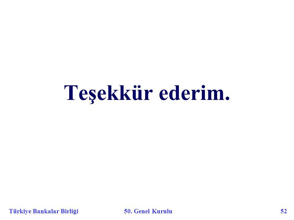 Türkiye Bankalar Birliği 50. Genel Kurulu 52 Teşekkür ederim.