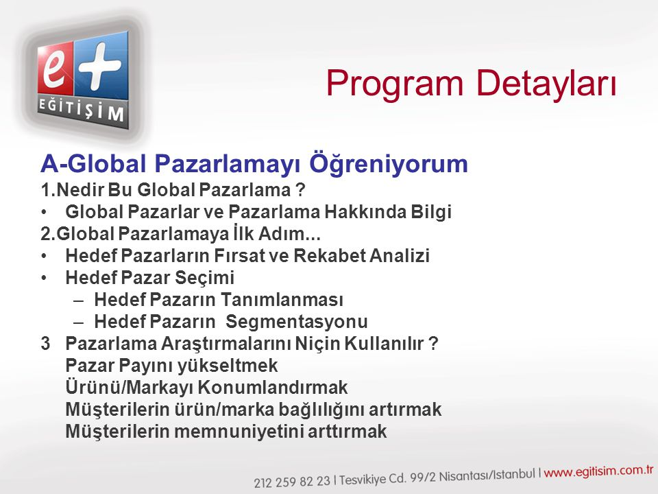 Program Detayları A-Global Pazarlamayı Öğreniyorum 1.Nedir Bu Global Pazarlama .