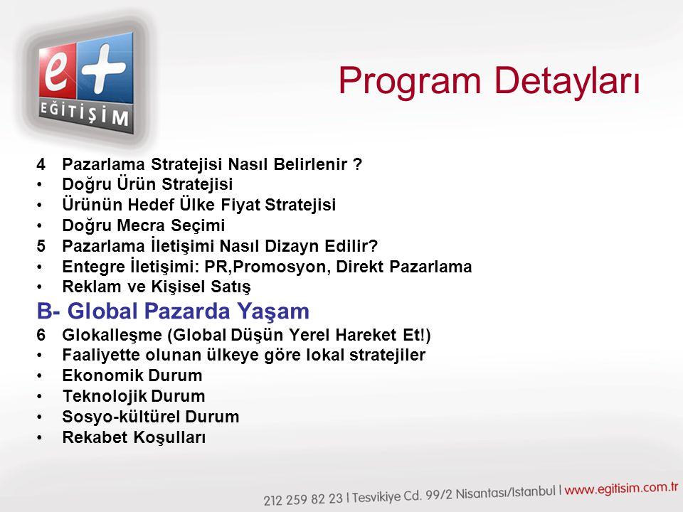Program Detayları 4Pazarlama Stratejisi Nasıl Belirlenir .