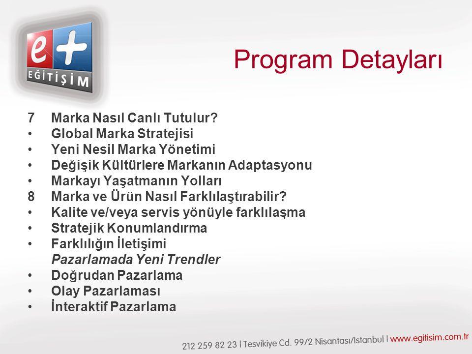 Program Detayları 7Marka Nasıl Canlı Tutulur.