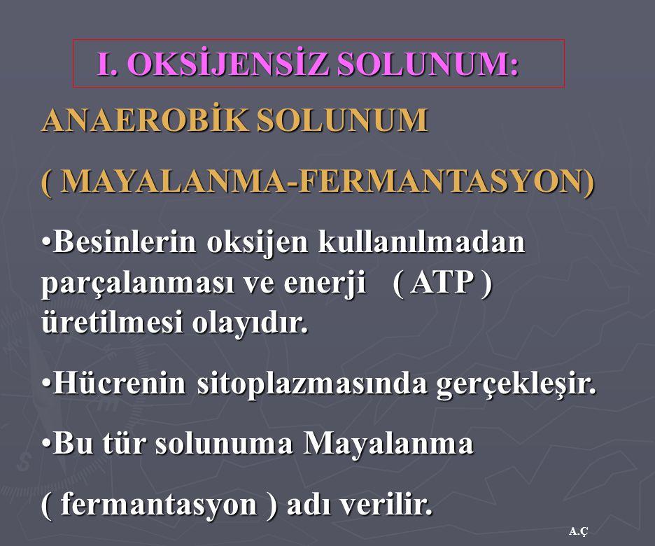 A.Ç I. OKSİJENSİZ SOLUNUM: ANAEROBİK SOLUNUM ( MAYALANMA-FERMANTASYON) Besinlerin oksijen kullanılmadan parçalanması ve enerji ( ATP ) üretilmesi olay