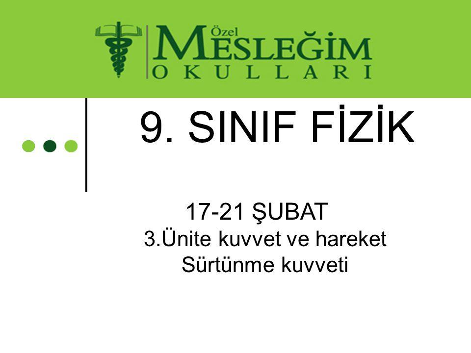 9. SINIF FİZİK 17-21 ŞUBAT 3.Ünite kuvvet ve hareket Sürtünme kuvveti