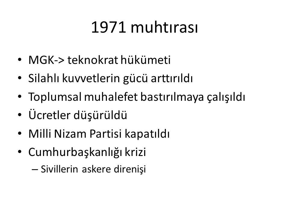 1971 muhtırası MGK-> teknokrat hükümeti Silahlı kuvvetlerin gücü arttırıldı Toplumsal muhalefet bastırılmaya çalışıldı Ücretler düşürüldü Milli Nizam