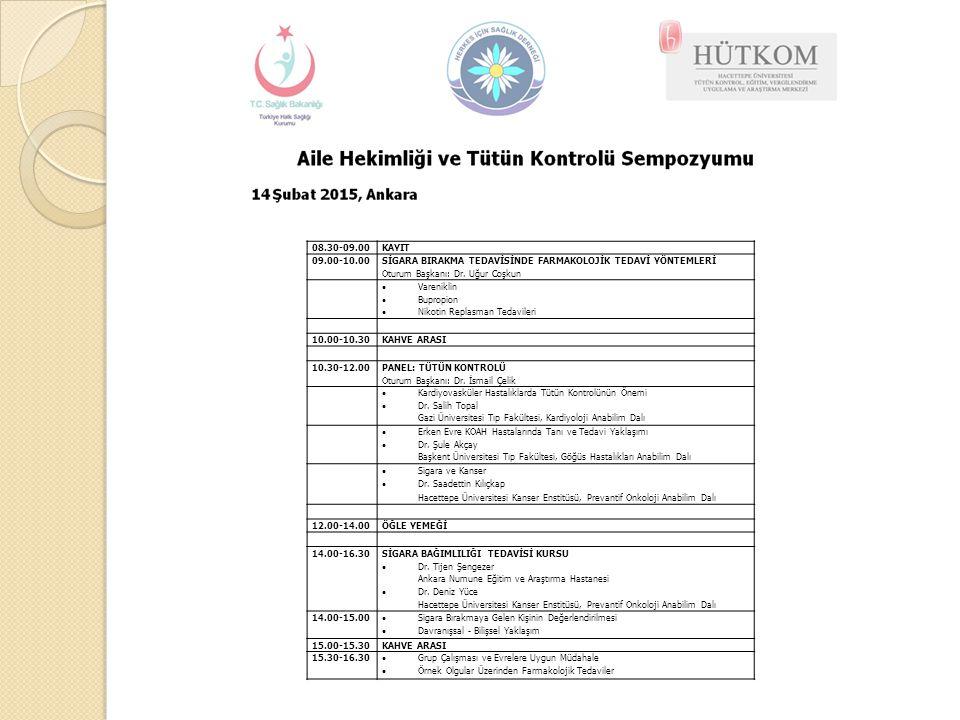 08.30-09.00KAYIT 09.00-10.00 SİGARA BIRAKMA TEDAVİSİNDE FARMAKOLOJİK TEDAVİ YÖNTEMLERİ Oturum Başkanı: Dr. Uğur Coşkun  Vareniklin  Bupropion  Niko