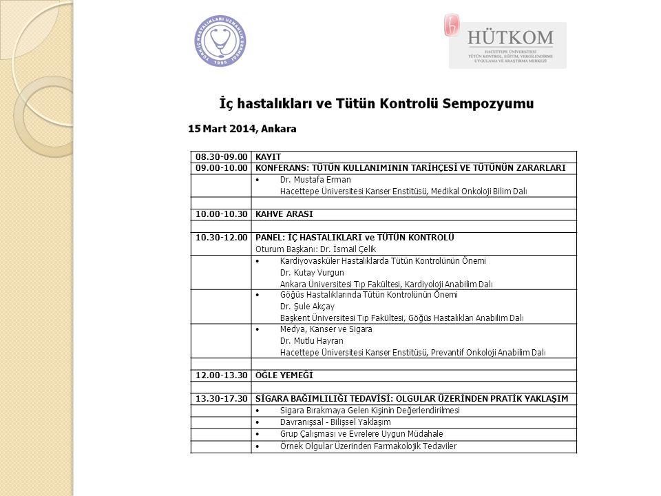 08.30-09.00KAYIT 09.00-10.00KONFERANS: TÜTÜN KULLANIMININ TARİHÇESİ VE TÜTÜNÜN ZARARLARI  Dr. Mustafa Erman Hacettepe Üniversitesi Kanser Enstitüsü,