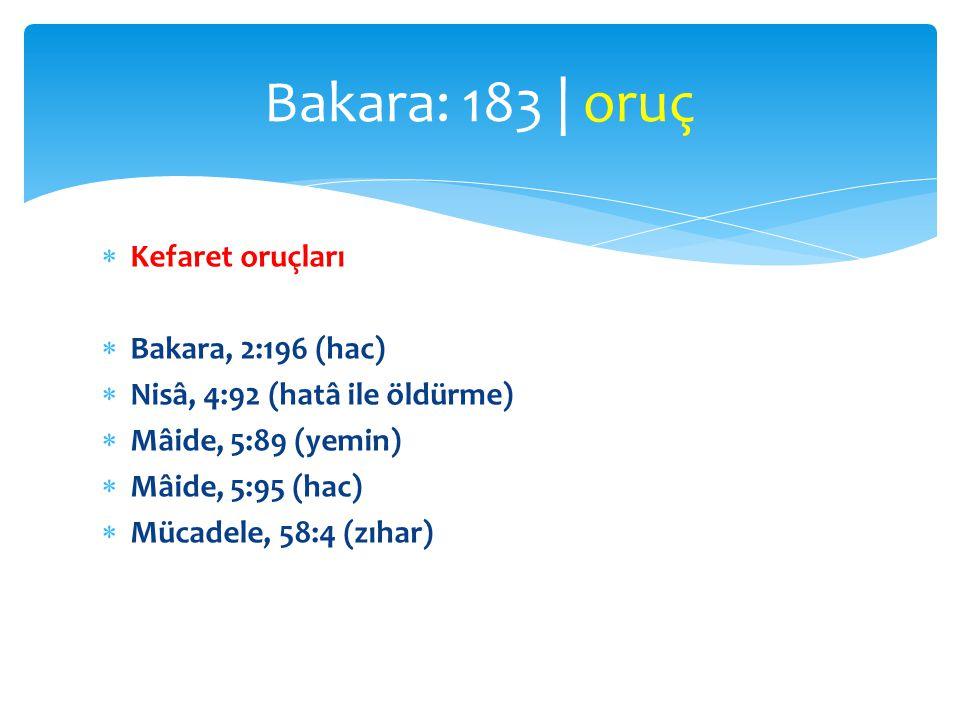  Kefaret oruçları  Bakara, 2:196 (hac)  Nisâ, 4:92 (hatâ ile öldürme)  Mâide, 5:89 (yemin)  Mâide, 5:95 (hac)  Mücadele, 58:4 (zıhar) Bakara: 18