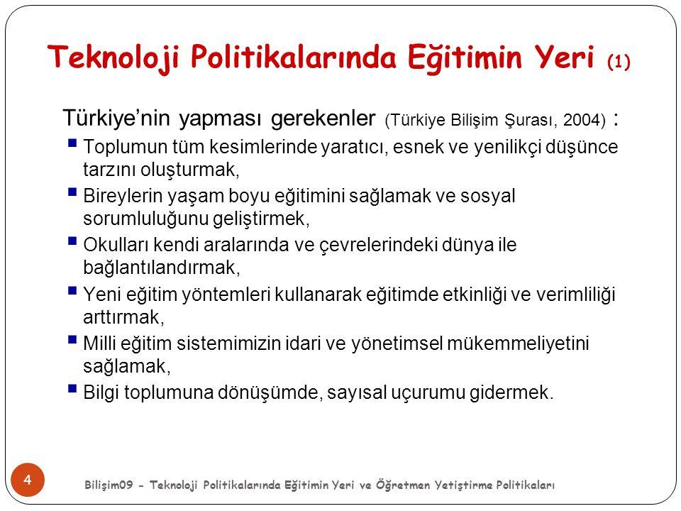 Bilişim09 - Teknoloji Politikalarında Eğitimin Yeri ve Öğretmen Yetiştirme Politikaları 4 Teknoloji Politikalarında Eğitimin Yeri (1) Türkiye'nin yapm