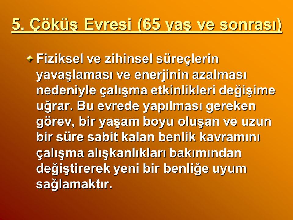 4. Koruma Evresi (45-64 yaş) Birey artık olgunlaşmıştır ve bu aşamada kendinden beklenen, artık yeni bir temel oluşturmaktan çok, varolan benlik kavra