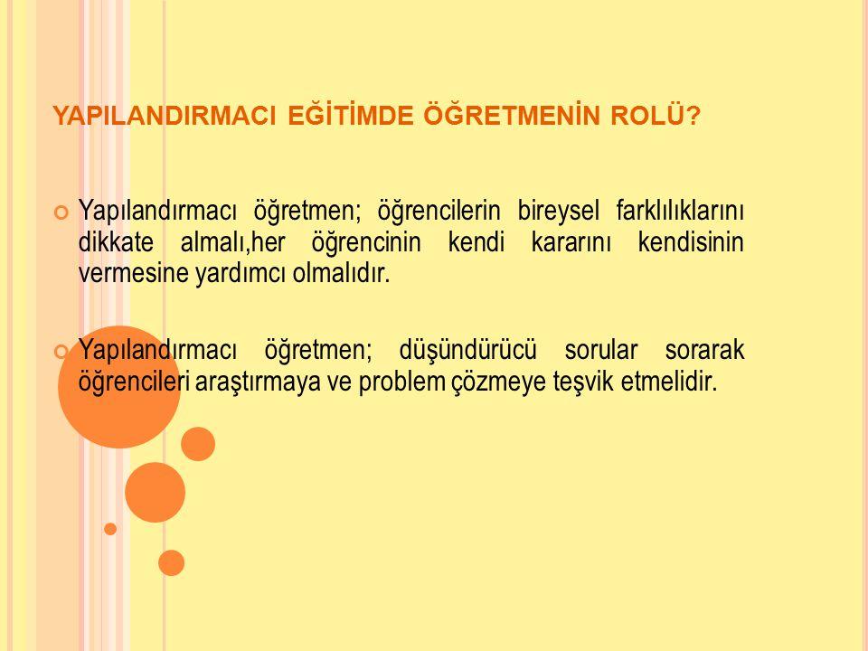 YAPILANDIRMACI EĞİTİMDE ÖĞRETMENİN ROLÜ.