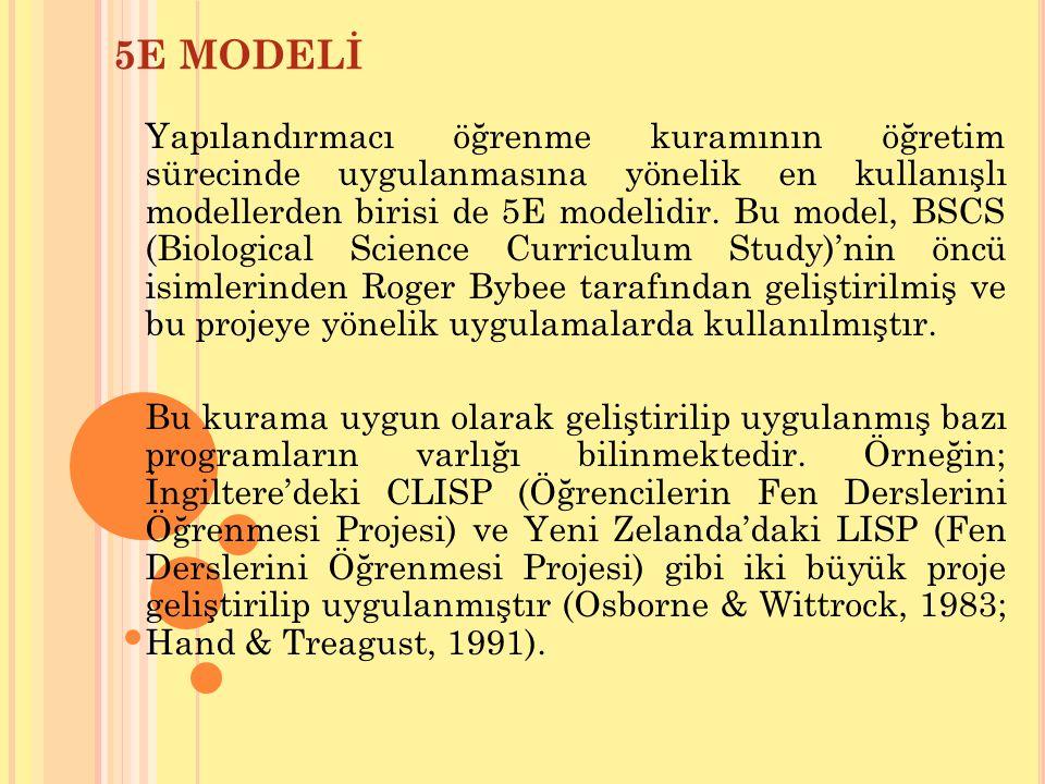 Yapılandırmacı öğrenme kuramının öğretim sürecinde uygulanmasına yönelik en kullanışlı modellerden birisi de 5E modelidir. Bu model, BSCS (Biological