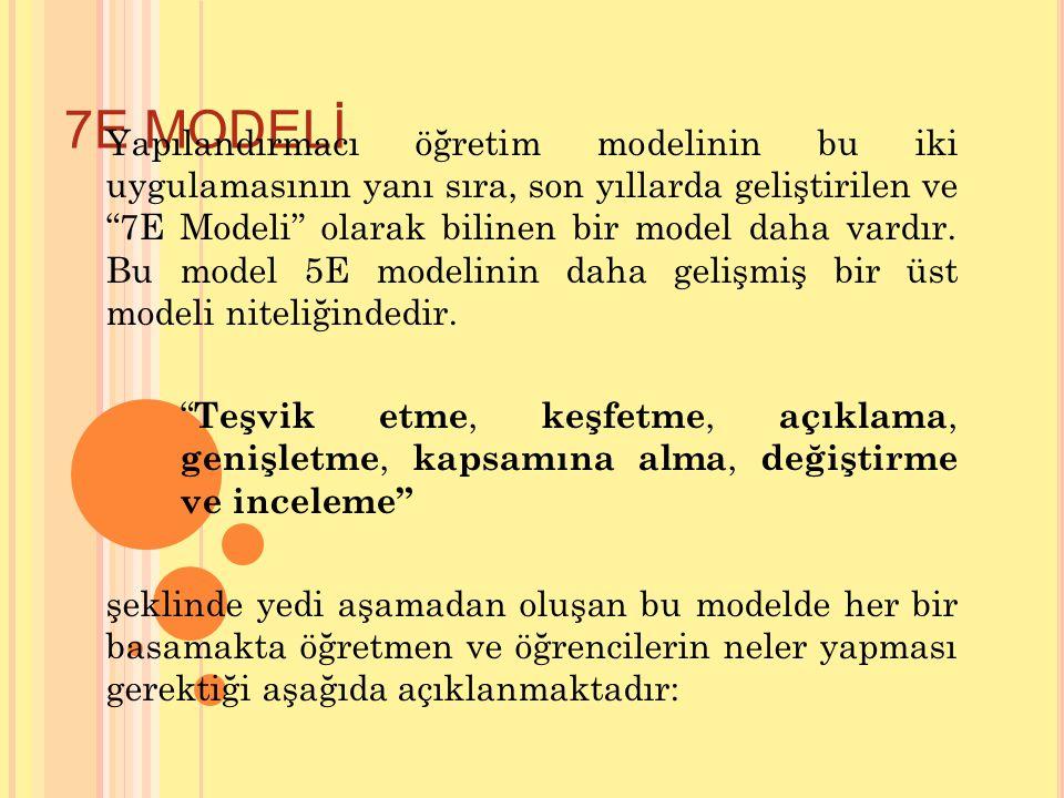 """7E MODELİ Yapılandırmacı öğretim modelinin bu iki uygulamasının yanı sıra, son yıllarda geliştirilen ve """"7E Modeli"""" olarak bilinen bir model daha vard"""