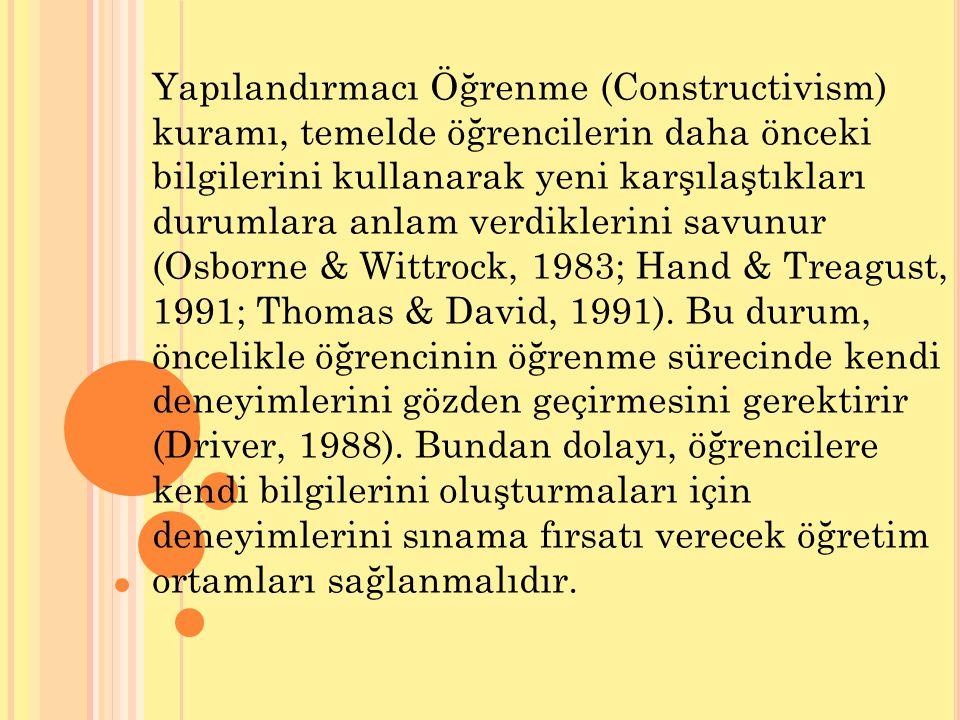 Yapılandırmacı Öğrenme (Constructivism) kuramı, temelde öğrencilerin daha önceki bilgilerini kullanarak yeni karşılaştıkları durumlara anlam verdiklerini savunur (Osborne & Wittrock, 1983; Hand & Treagust, 1991; Thomas & David, 1991).