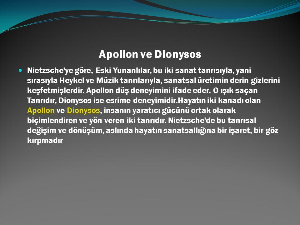 Apollon ve Dionysos Nietzsche'ye göre, Eski Yunanlılar, bu iki sanat tanrısıyla, yani sırasıyla Heykel ve Müzik tanrılarıyla, sanatsal üretimin derin