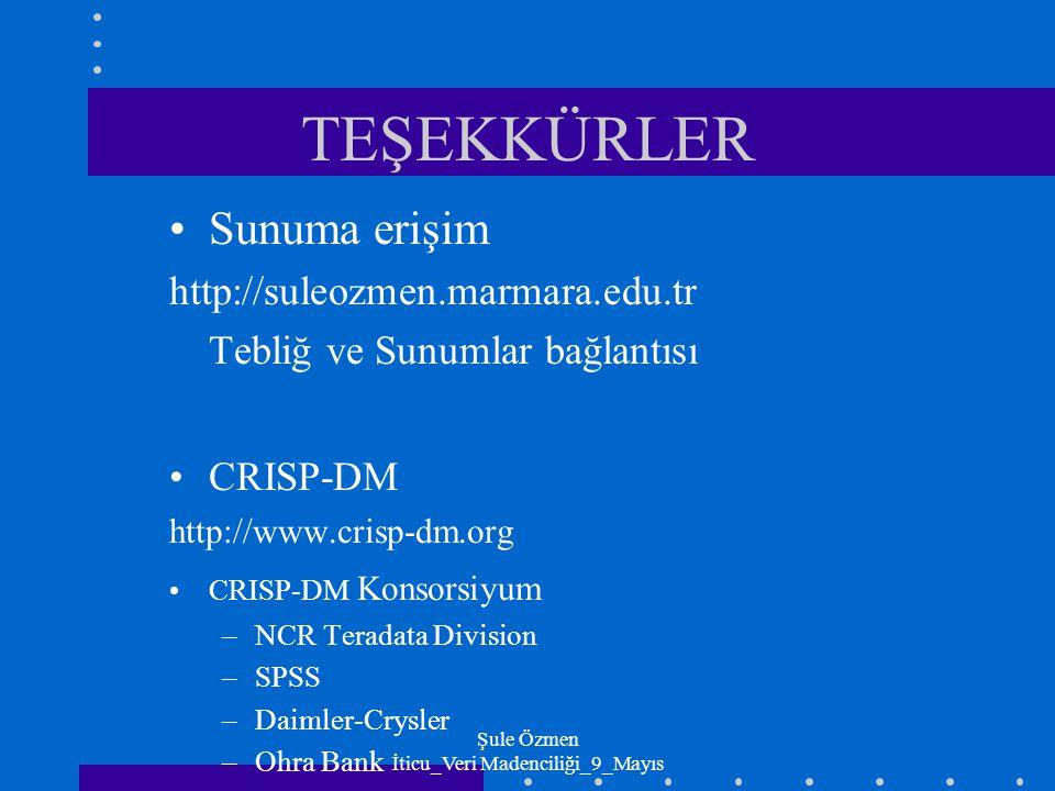 Şule Özmen İticu_Veri Madenciliği_9_Mayıs TEŞEKKÜRLER Sunuma erişim http://suleozmen.marmara.edu.tr Tebliğ ve Sunumlar bağlantısı CRISP-DM http://www.