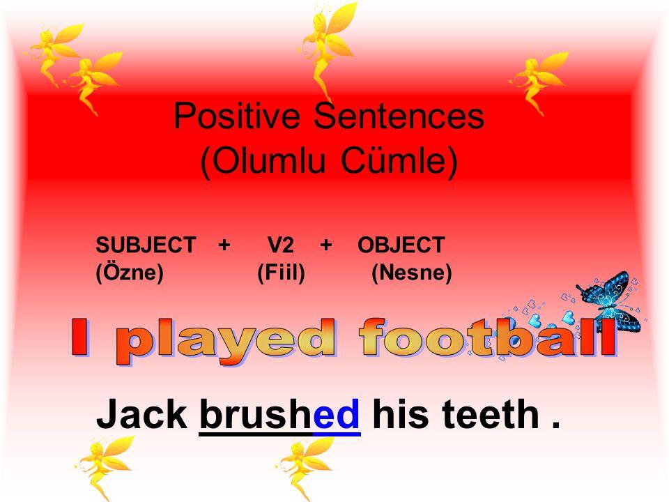 Positive Sentences (Olumlu Cümle) SUBJECT + V2 + OBJECT (Özne) (Fiil) (Nesne).