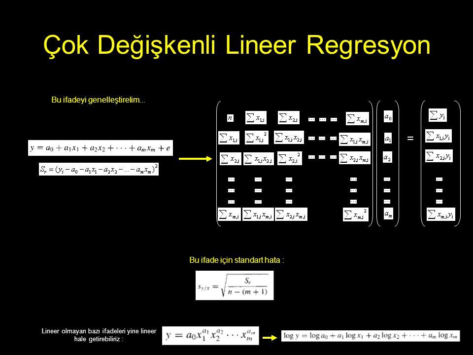 Çok Değişkenli Lineer Regresyon = Bu ifadeyi genelleştirelim... Bu ifade için standart hata : Lineer olmayan bazı ifadeleri yine lineer hale getirebil