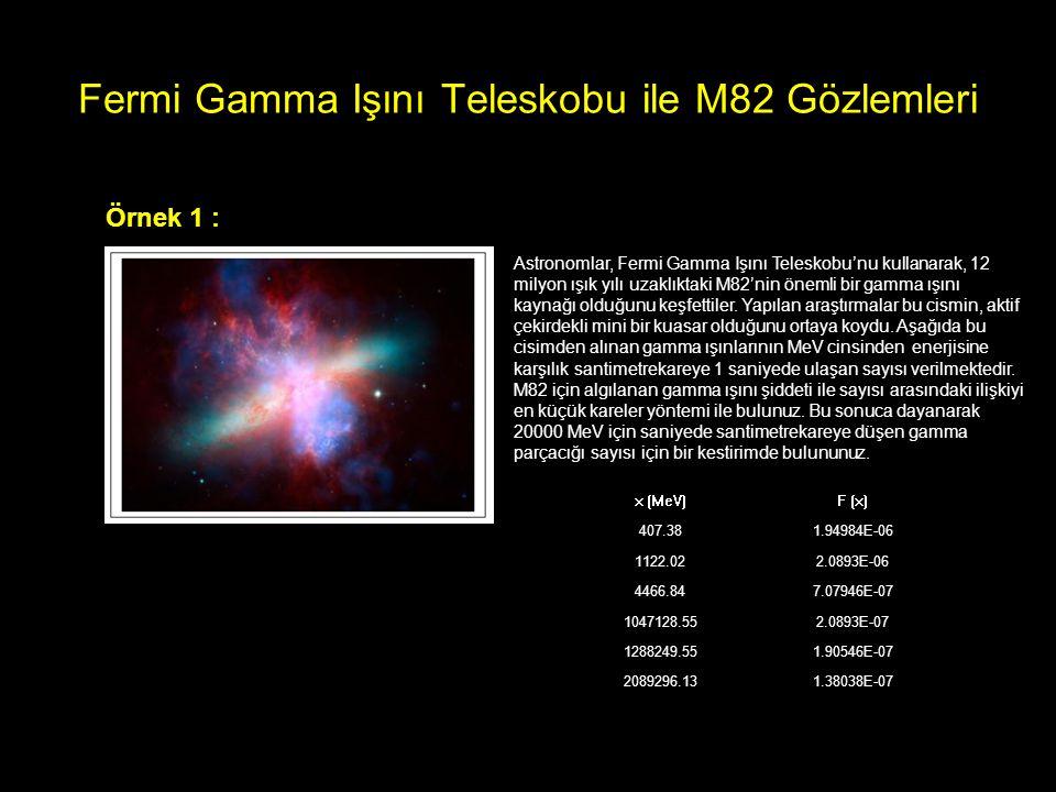 Fermi Gamma Işını Teleskobu ile M82 Gözlemleri Örnek 1 : Astronomlar, Fermi Gamma Işını Teleskobu'nu kullanarak, 12 milyon ışık yılı uzaklıktaki M82'n