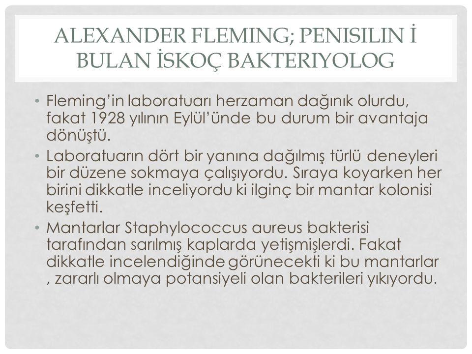 ALEXANDER FLEMING; PENISILIN İ BULAN İSKOÇ BAKTERIYOLOG Fleming'in laboratuarı herzaman dağınık olurdu, fakat 1928 yılının Eylül'ünde bu durum bir ava