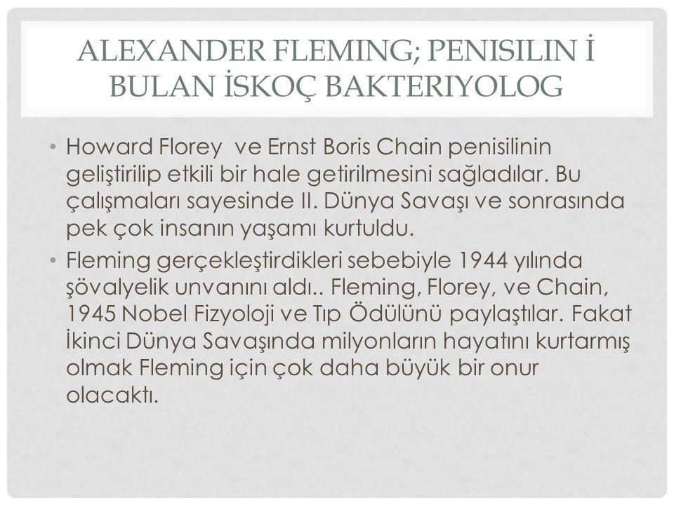 ALEXANDER FLEMING; PENISILIN İ BULAN İSKOÇ BAKTERIYOLOG Howard Florey ve Ernst Boris Chain penisilinin geliştirilip etkili bir hale getirilmesini sağl