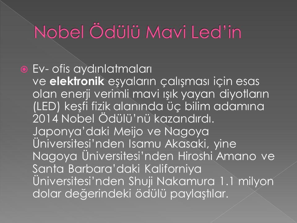  Ev- ofis aydınlatmaları ve elektronik eşyaların çalışması için esas olan enerji verimli mavi ışık yayan diyotların (LED) keşfi fizik alanında üç bilim adamına 2014 Nobel Ödülü'nü kazandırdı.