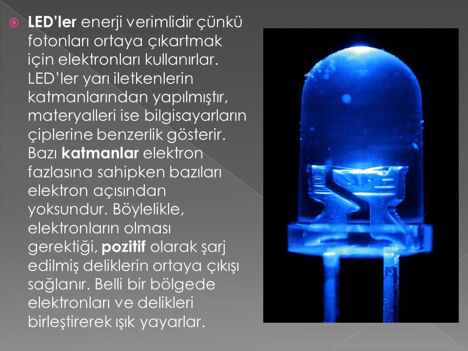  LED'ler enerji verimlidir çünkü fotonları ortaya çıkartmak için elektronları kullanırlar. LED'ler yarı iletkenlerin katmanlarından yapılmıştır, mate