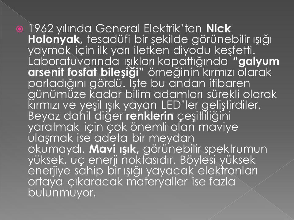  1962 yılında General Elektrik'ten Nick Holonyak, tesadüfi bir şekilde görünebilir ışığı yaymak için ilk yarı iletken diyodu keşfetti.