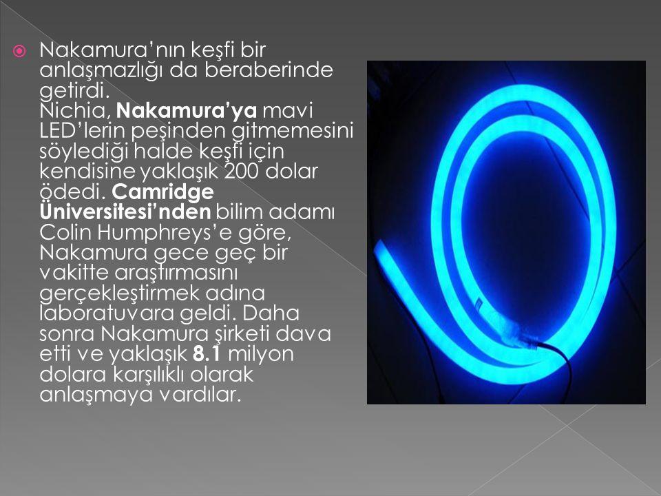 Nakamura'nın keşfi bir anlaşmazlığı da beraberinde getirdi. Nichia, Nakamura'ya mavi LED'lerin peşinden gitmemesini söylediği halde keşfi için kendi