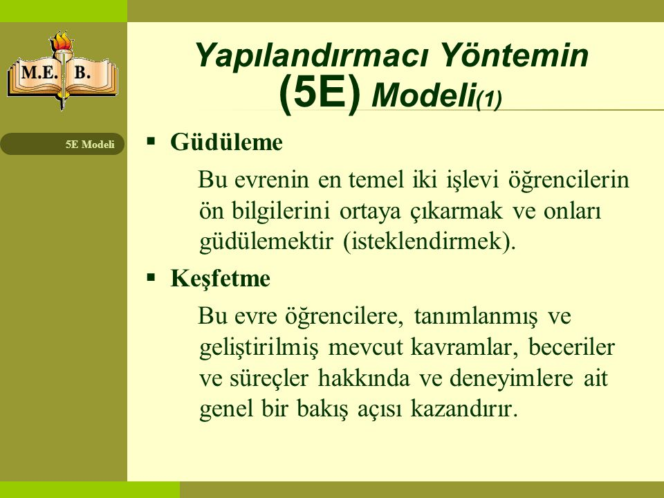 5E Modeli Yapılandırmacı Yöntemin (5E) Modeli (1)  Güdüleme Bu evrenin en temel iki işlevi öğrencilerin ön bilgilerini ortaya çıkarmak ve onları güdü