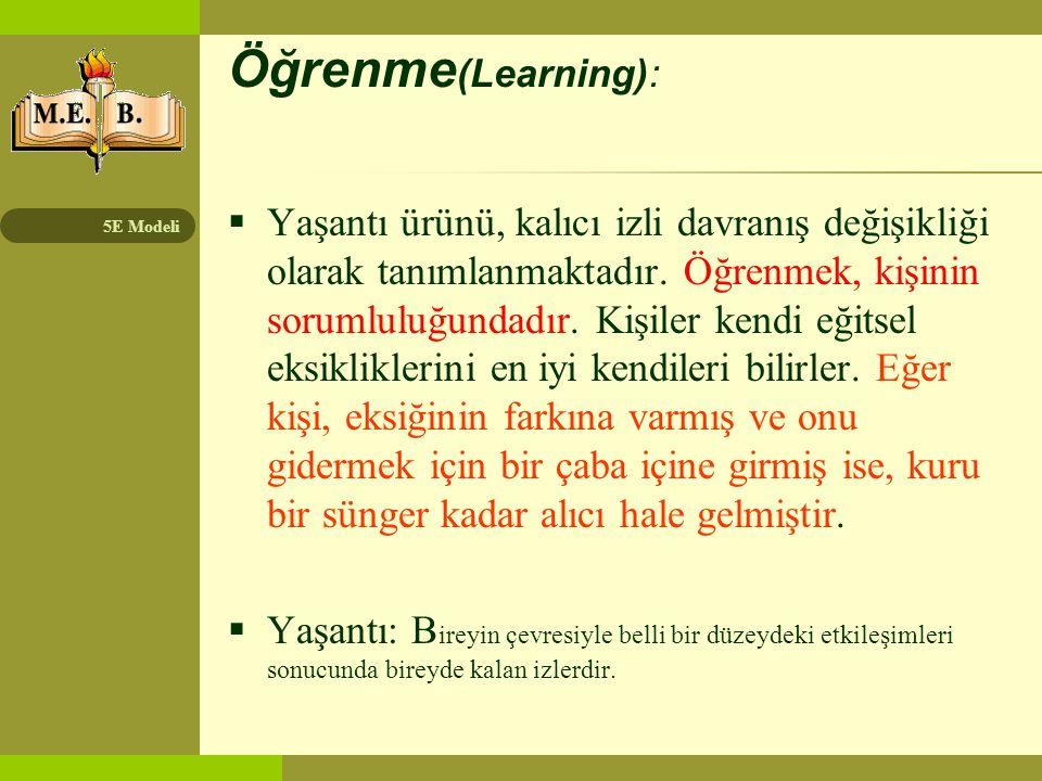 5E Modeli Öğrenme (Learning):  Yaşantı ürünü, kalıcı izli davranış değişikliği olarak tanımlanmaktadır. Öğrenmek, kişinin sorumluluğundadır. Kişiler