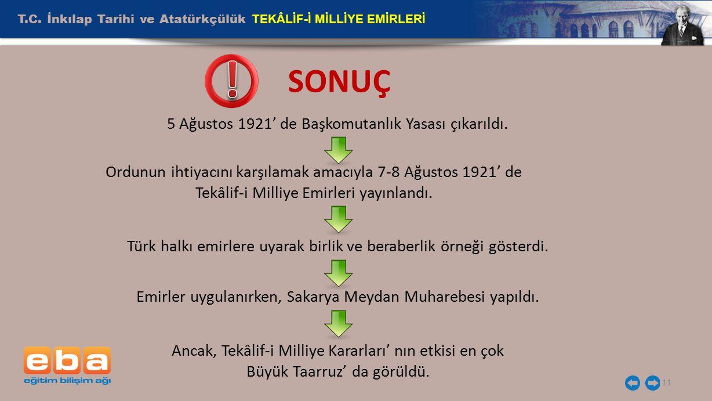 T.C. İnkılap Tarihi ve Atatürkçülük TEKÂLİF-İ MİLLİYE EMİRLERİ 11 5 Ağustos 1921' de Başkomutanlık Yasası çıkarıldı. Ordunun ihtiyacını karşılamak ama