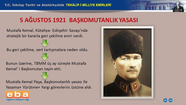 2 5 AĞUSTOS 1921 BAŞKOMUTANLIK YASASI Mustafa Kemal, Kütahya- Eskişehir Savaşı'nda stratejik bir kararla geri çekilme emri verdi. Bu geri çekilme, ser
