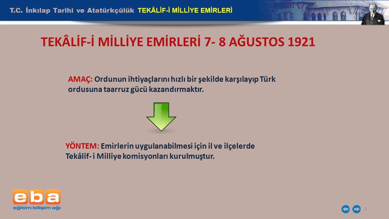 T.C. İnkılap Tarihi ve Atatürkçülük TEKÂLİF-İ MİLLİYE EMİRLERİ 3 TEKÂLİF-İ MİLLİYE EMİRLERİ 7- 8 AĞUSTOS 1921 AMAÇ: Ordunun ihtiyaçlarını hızlı bir şe