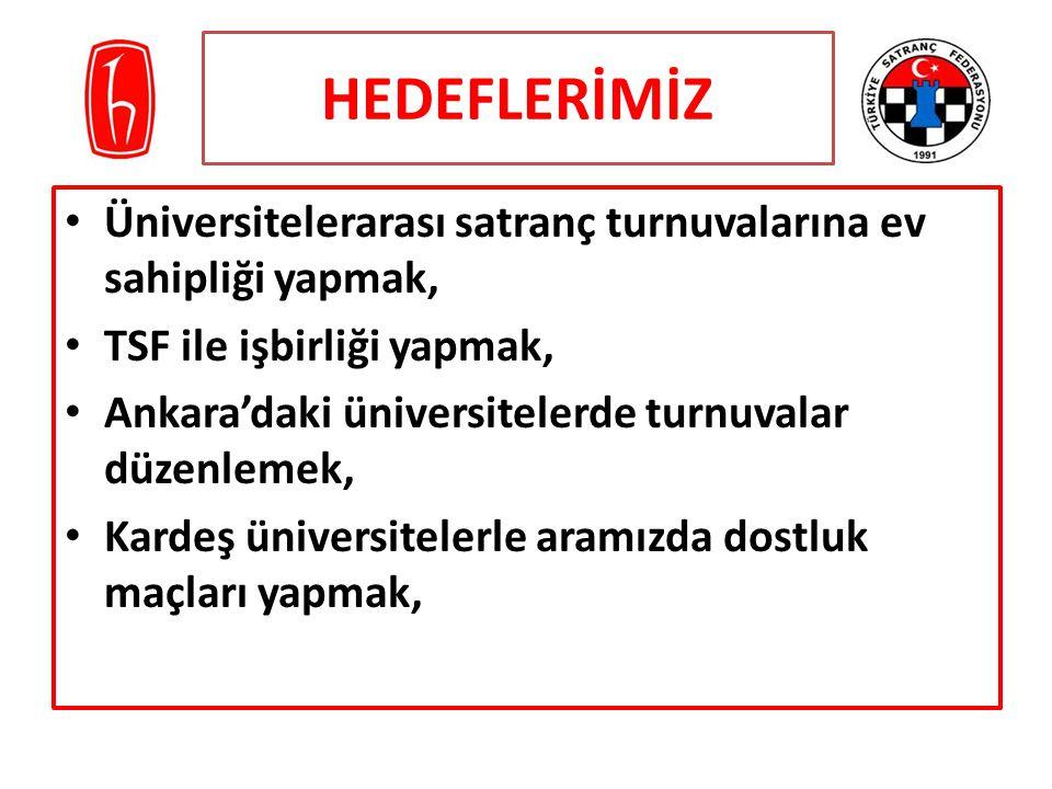HEDEFLERİMİZ Üniversitelerarası satranç turnuvalarına ev sahipliği yapmak, TSF ile işbirliği yapmak, Ankara'daki üniversitelerde turnuvalar düzenlemek