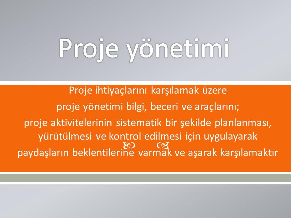  Proje ihtiyaçlarını karşılamak üzere proje yönetimi bilgi, beceri ve araçlarını; proje aktivitelerinin sistematik bir şekilde planlanması, yürütülme