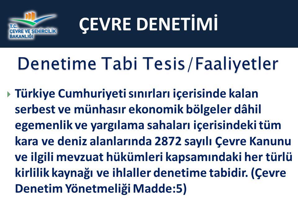 ÇEVRE DENETİMİ  Türkiye Cumhuriyeti sınırları içerisinde kalan serbest ve münhasır ekonomik bölgeler dâhil egemenlik ve yargılama sahaları içerisinde