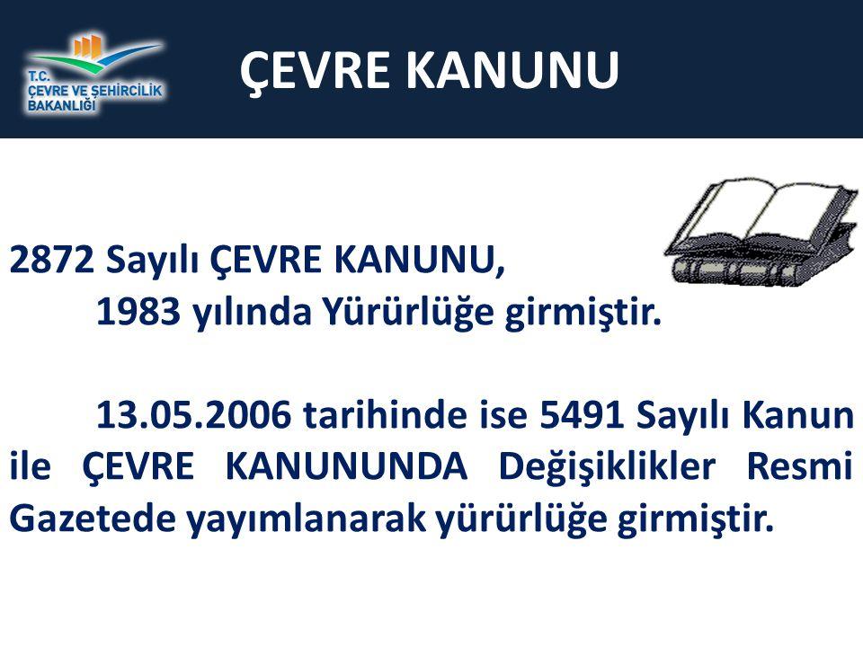 ÇEVRE KANUNU 2872 Sayılı ÇEVRE KANUNU, 1983 yılında Yürürlüğe girmiştir.