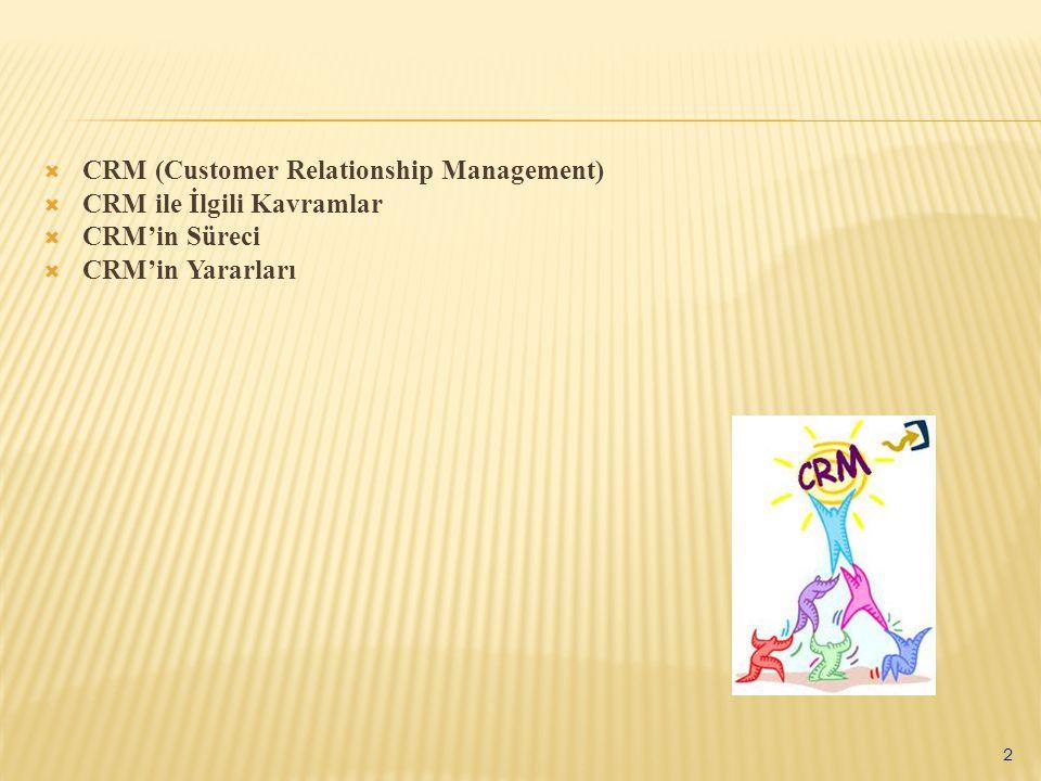  CRM (Customer Relationship Management)  CRM ile İlgili Kavramlar  CRM'in Süreci  CRM'in Yararları 2
