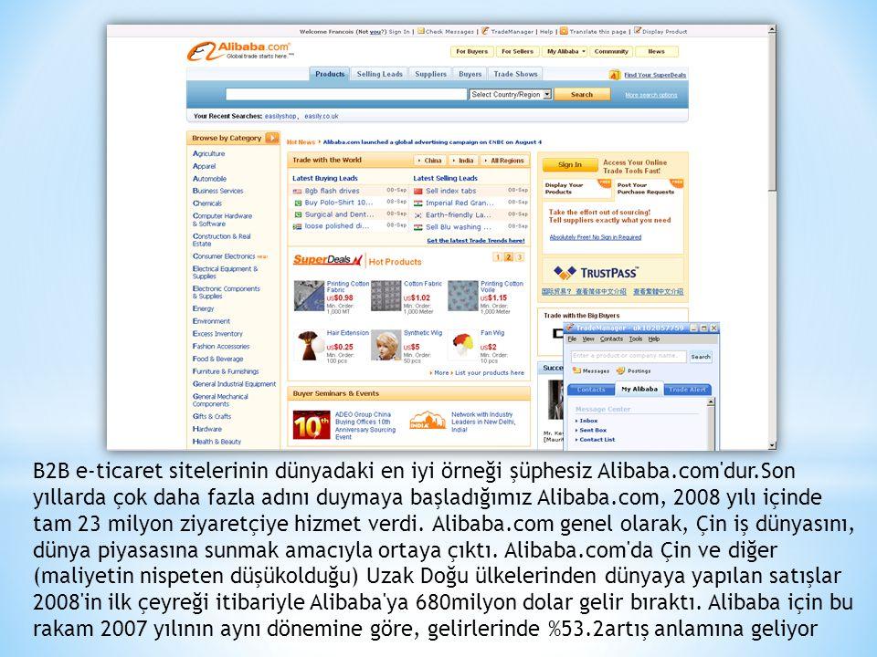 B2B e-ticaret sitelerinin dünyadaki en iyi örneği şüphesiz Alibaba.com dur.Son yıllarda çok daha fazla adını duymaya başladığımız Alibaba.com, 2008 yılı içinde tam 23 milyon ziyaretçiye hizmet verdi.