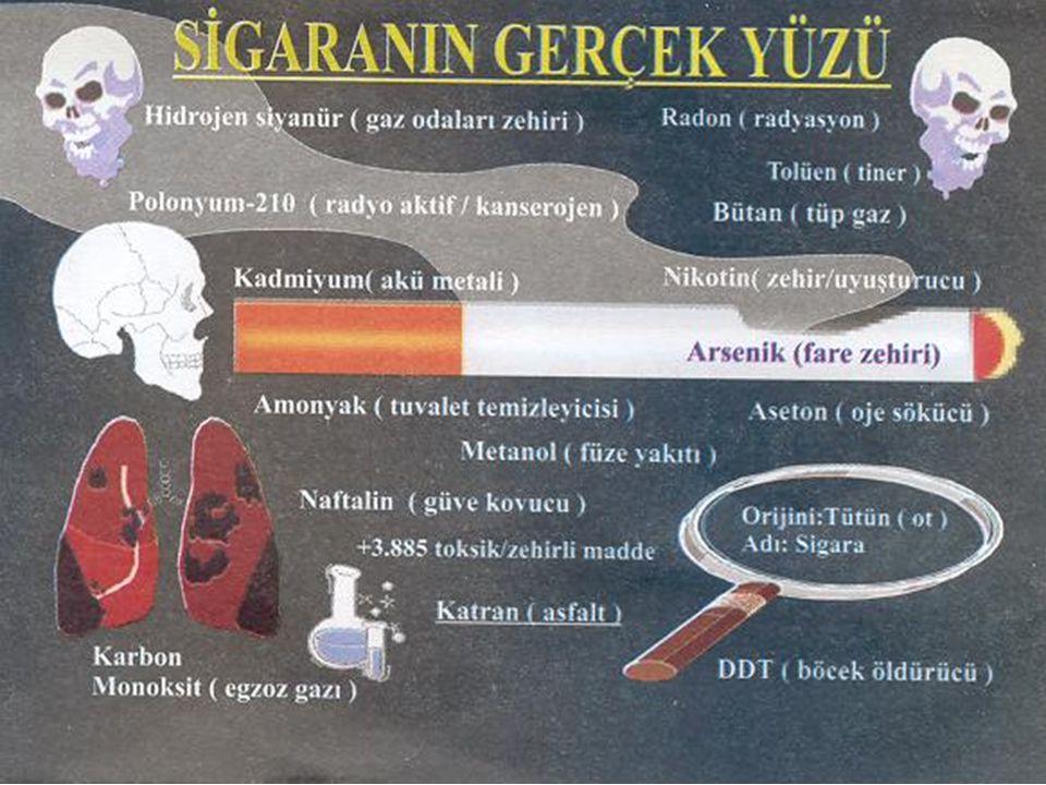 TÜRKİYE'DE EN ÇOK ÖLÜME NEDEN OLAN HASTALIKLAR 1.KORONER KALP HASTALIKLARI % 43'ü sigara kaynaklı 2.KANSER % 50 Akciğer Kanser (% 90'ı sigara kaynaklı) 3.