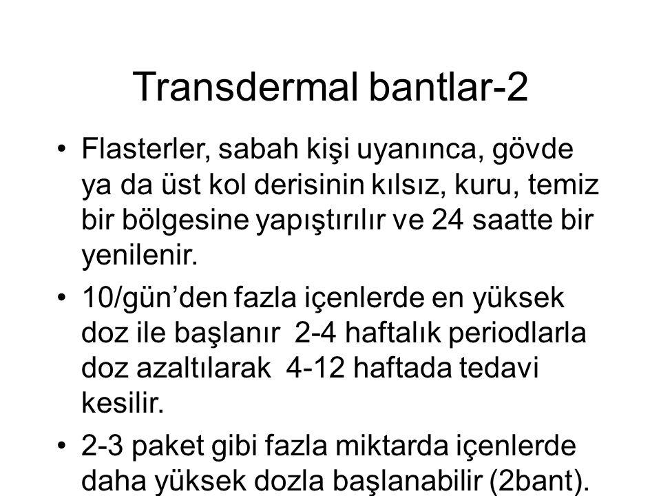 Transdermal bantlar-2 Flasterler, sabah kişi uyanınca, gövde ya da üst kol derisinin kılsız, kuru, temiz bir bölgesine yapıştırılır ve 24 saatte bir yenilenir.