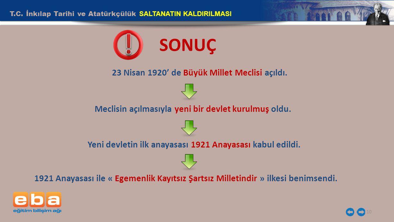 T.C. İnkılap Tarihi ve Atatürkçülük SALTANATIN KALDIRILMASI 10 SONUÇ 23 Nisan 1920' de Büyük Millet Meclisi açıldı. Meclisin açılmasıyla yeni bir devl