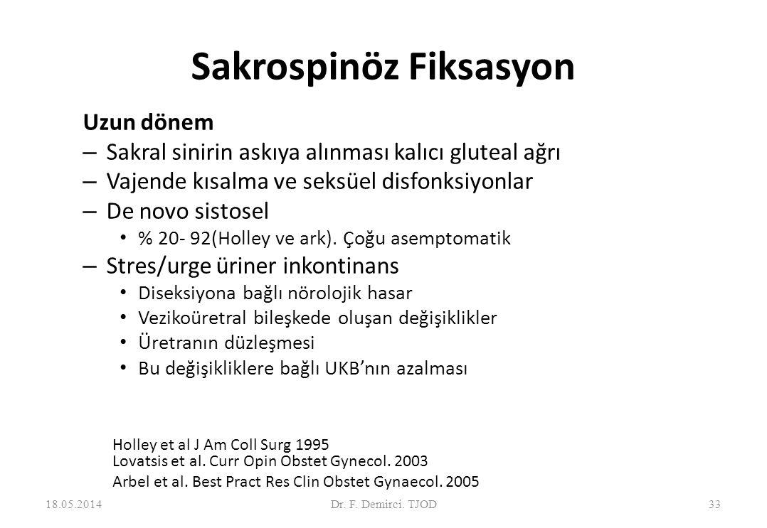 Sakrospinöz fiksasyon vs.Sakrokolpopeksi 34 Demirci ve ark.